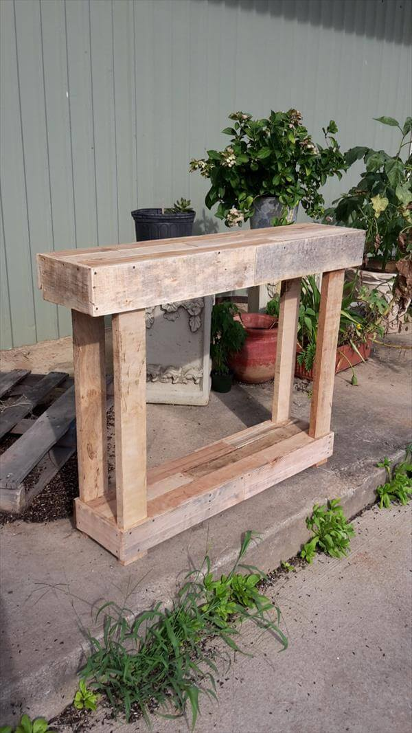 Recycled pallet entry or sofa table pallet furniture diy for Sofa table made from pallets