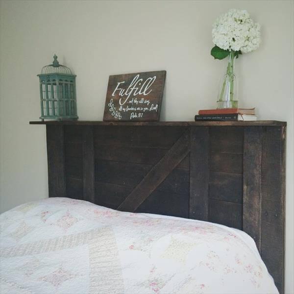 handmade wooden pallet headboard