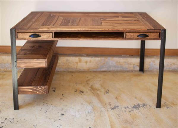 ... Desk Office Pallet Desk with Glass Top Reclaimed Steel and Pallet Desk