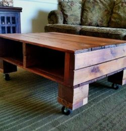 wooden pallet coffee table with storage and wheels