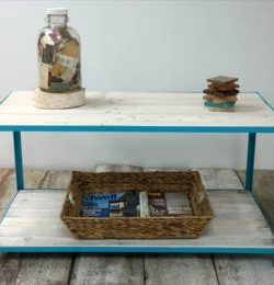 wooden pallet coffee table with steel frame and a built in shelf