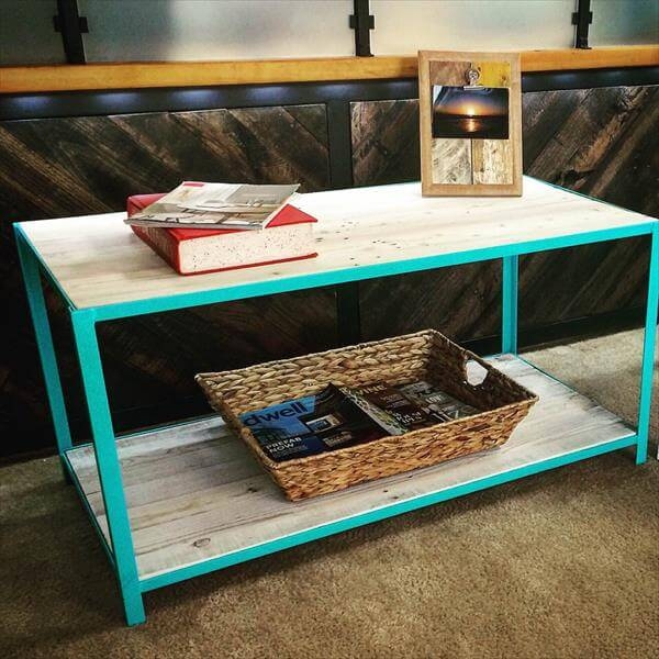 handcrafted pallet coffee table with steel base