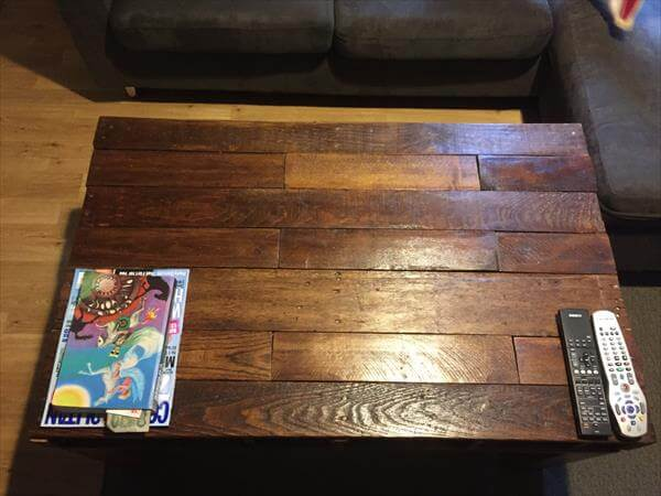 diy pallet dark stained coffee table