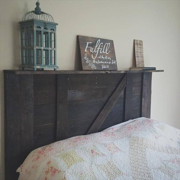 wooden pallet accent headboard with decorative mantle
