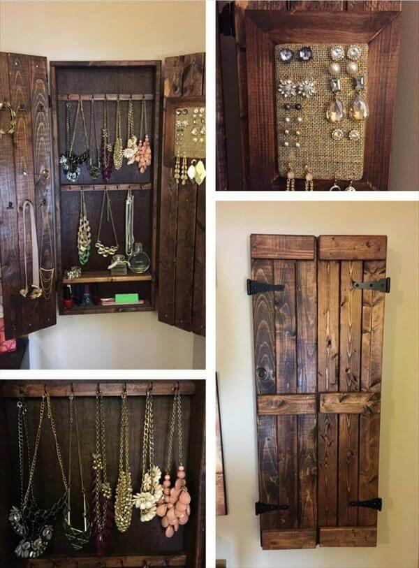 Pallet Wood Jewelry Rack Design | Pallet Furniture DIY