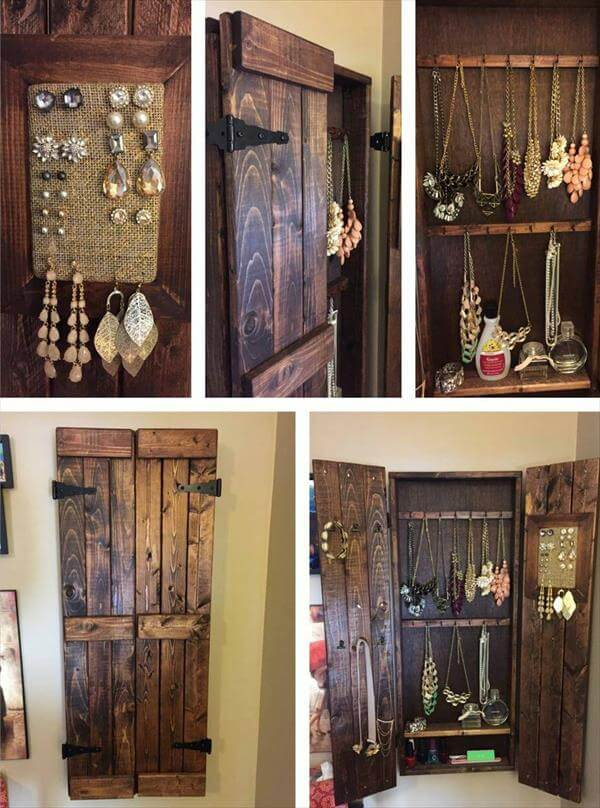 diy wooden pallet jewelry cabinet