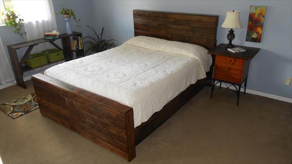 Diy pallet twin bed frame pallet furniture diy for Wood pallet twin bed frame