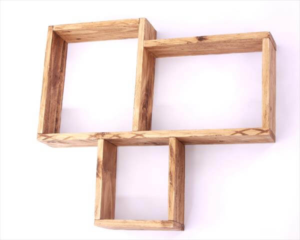 handmade pallet geometrical shelf unit