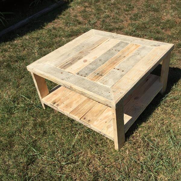 Pallet Wood Square Coffee Table Furniture DIY