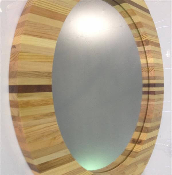 Wood Pallet Framed Round Mirror Pallet Furniture Diy