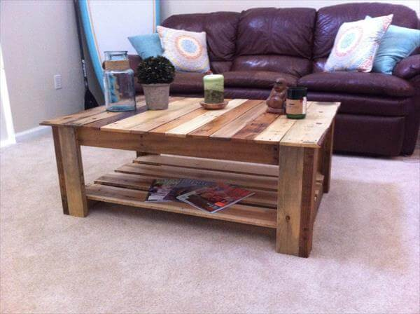 Wood Pallet Large Size Coffee Table Pallet Furniture Diy
