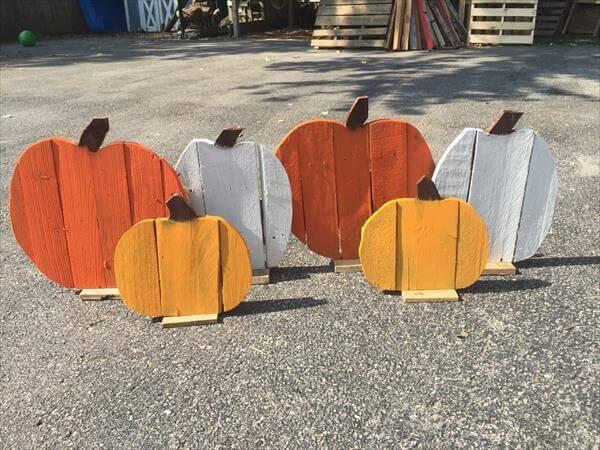 handmade wooden pallet pumpkins