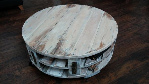 diy pallet round coffee table