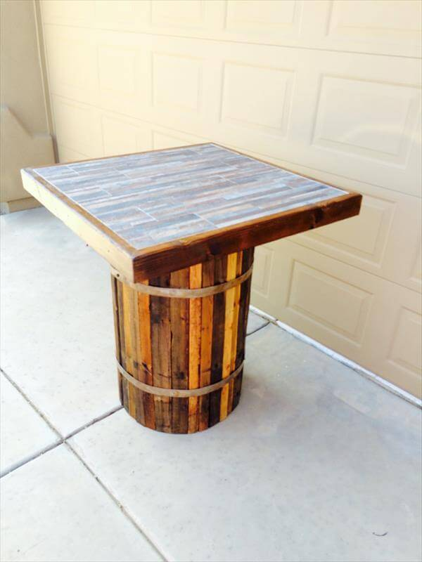 diy pallet coffee table with solid round base
