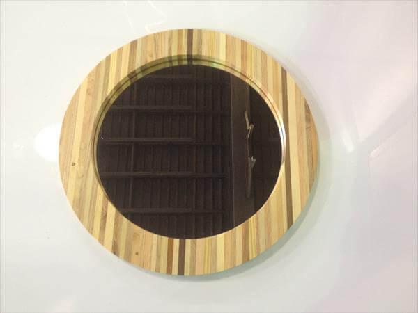 diy pallet round frame mirror