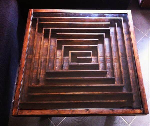 wooden pallet maze coffee table