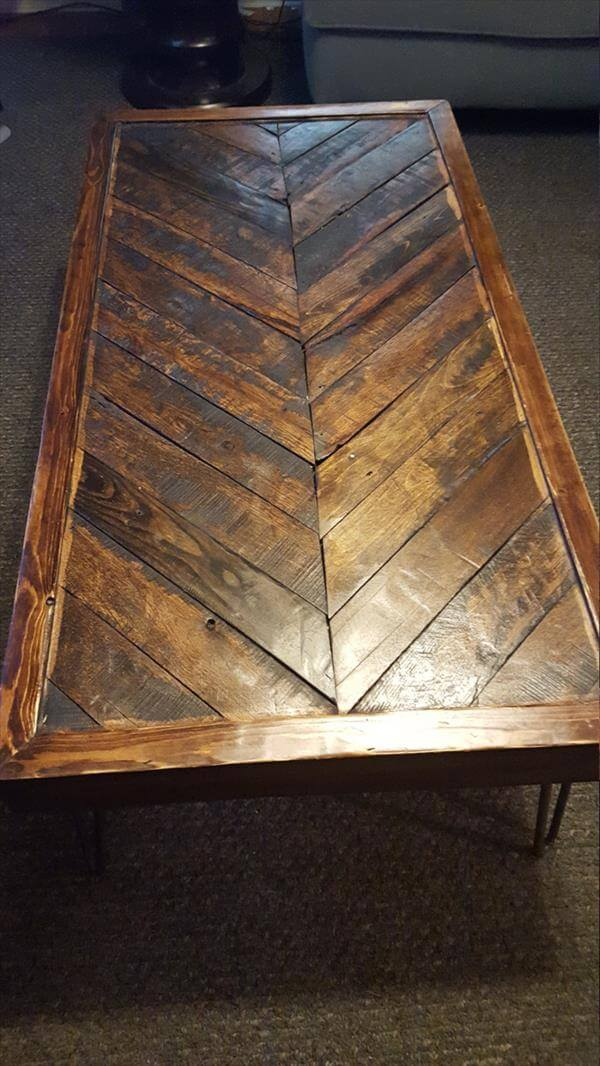 recycled pallet chevron coffee table with metal legs