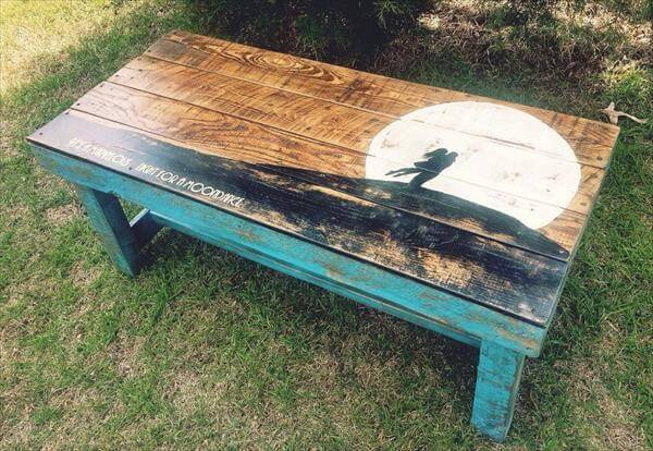 repurposed pallet wooden accent table