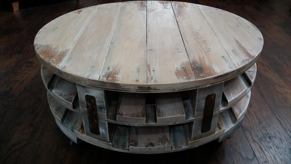 Diy pallet round coffee table pallet furniture diy for Round end table diy