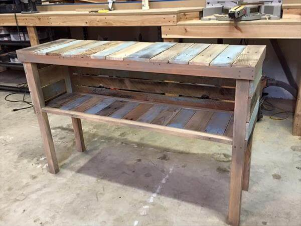 upcycled wooden pallet console table