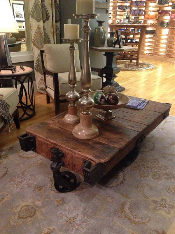 diy vintage inspired pallet factory cart table