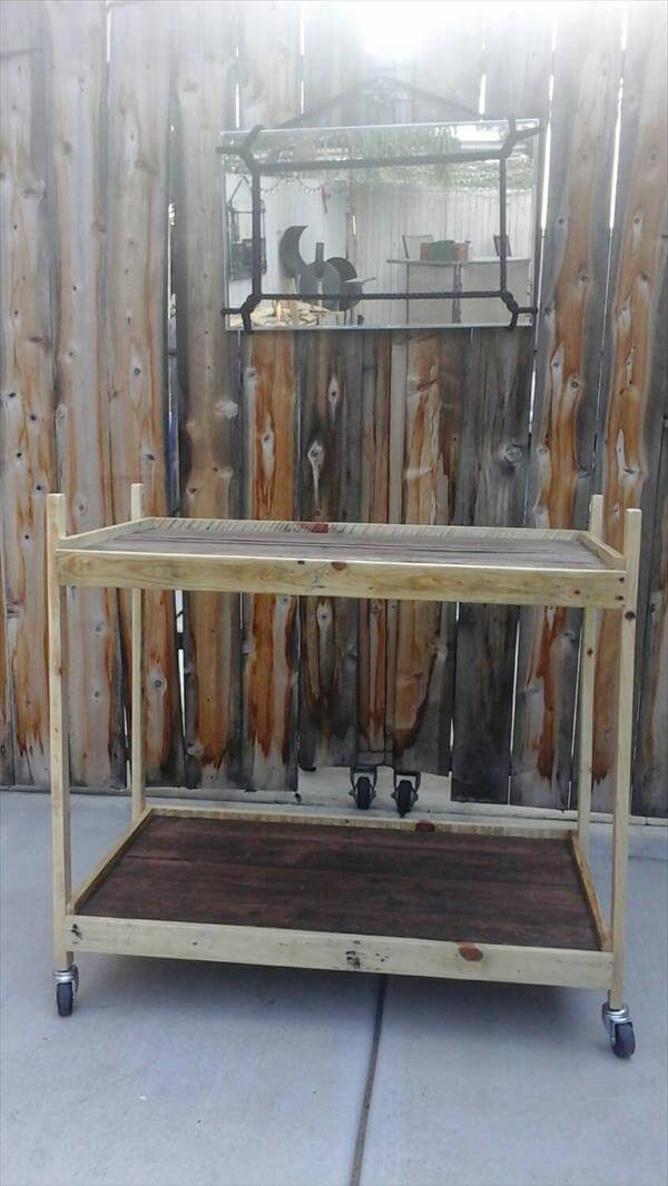 upcycled wooden pallet trolley