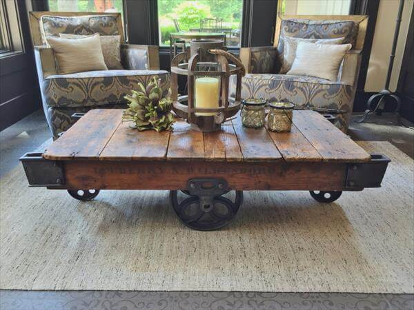 recycled pallet vintage factory cart coffee table