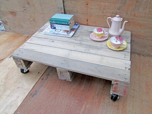 pallet low coffee table on wheels