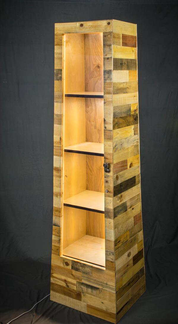 diy pallet shelf tower