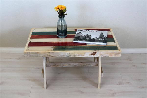 recycled pallet beach styled coffee table