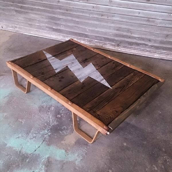wooden pallet factory cart style coffee table