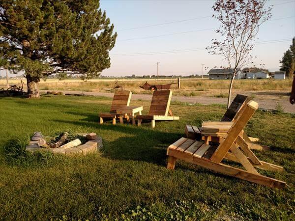 wooden pallet patio firepit chair set