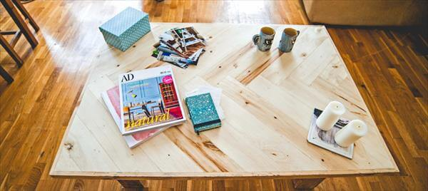 wooden pallet chevron coffee table