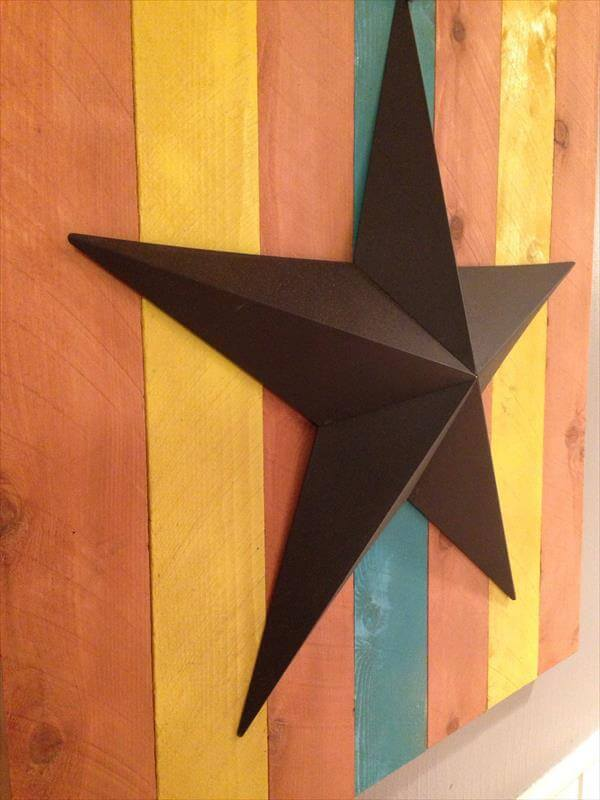 wooden pallet and metal star wall art