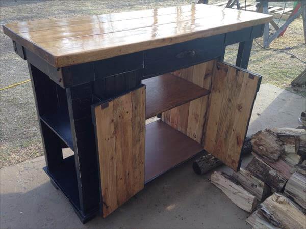 pallet and lumber kitchen island