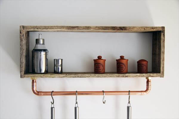wooden pallet rustic kitchen shelf with tool rack