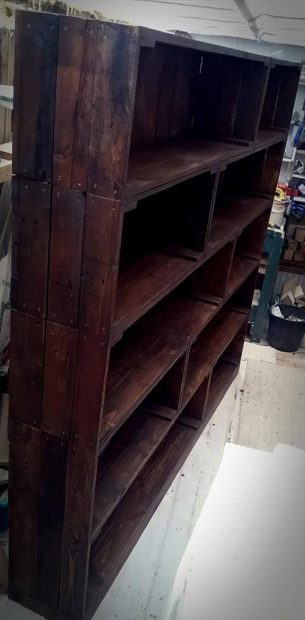 rustic pallet wood bookcase