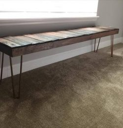 wooden pallet extra long bench with copper legs