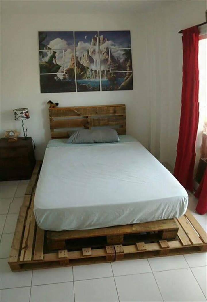 Diy pallet bed with headboard pallet furniture diy for Handmade pallet furniture