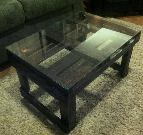 rustic pallet coffee table with glass top