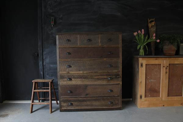 rustic yet modern pallet dresser or chest of drawers