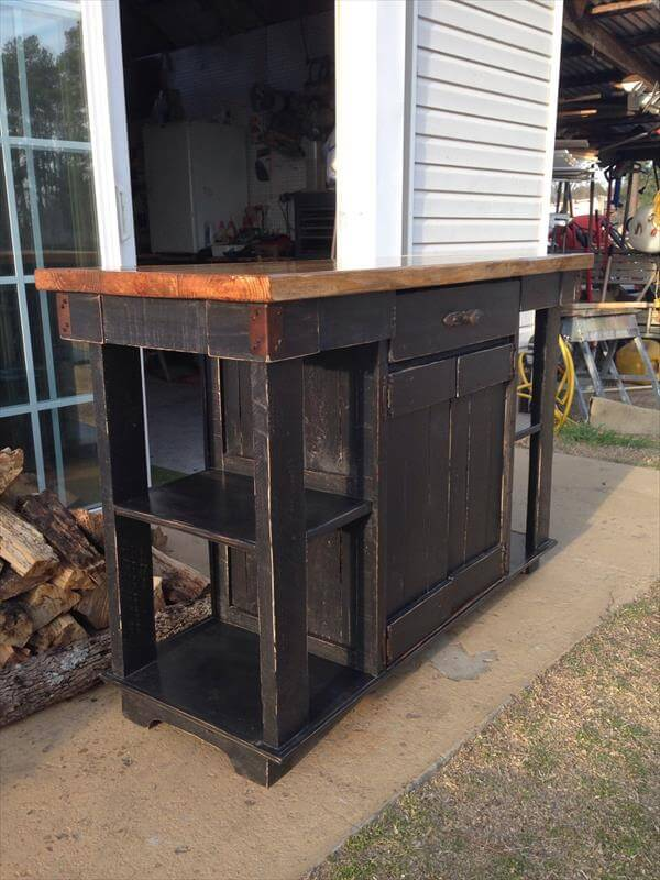 wooden pallet and lumber kitchen island