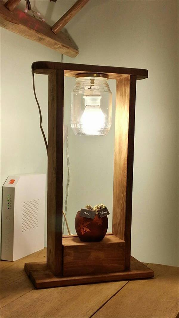 Pallet Wood And Mason Jar Lamp Furniture DIY
