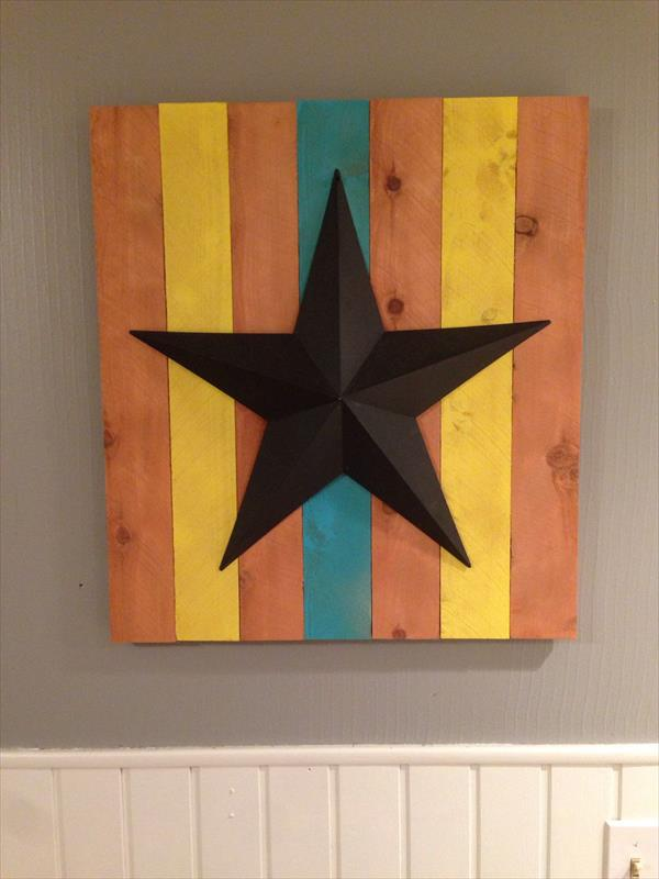 pallet wall art with metal star accent