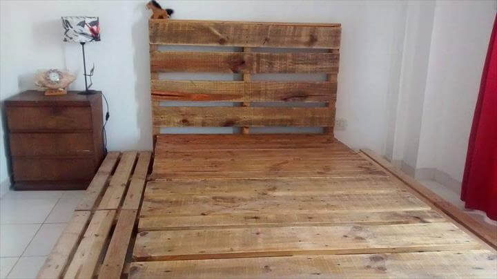 rustic pallet bed with headboard