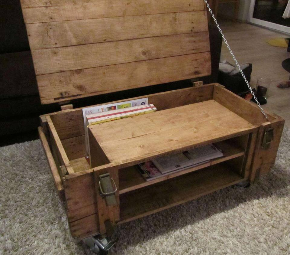 pallet coffee table with lift able top
