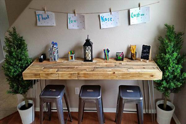 wooden pallet large desk with metal hairpin legs
