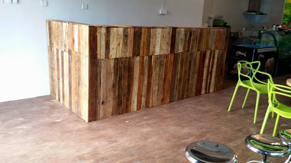 upcycled wooden pallet shop counter