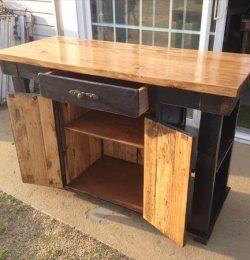 handcrafted pallet and lumber kitchen island