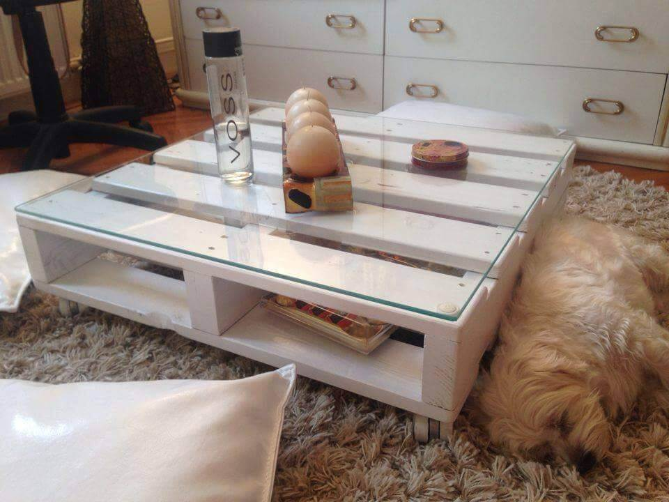 one pallet coffee table with glass top